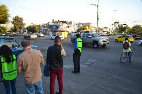 City staff on a WRI-led road safety inspection working to develop intervention proposals at high crash intersections