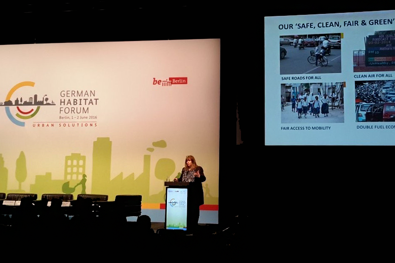 FIA Foundation Deputy Director Sheila Watson promoted the child health agenda at a Habitat mobility forum in Germany in June.