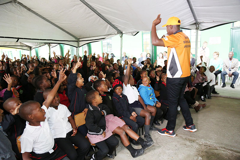Learning about road safety can be fun. In eThekwini, a drama group presents interactive lessons to students.