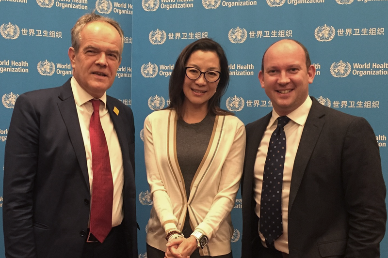 WHO's Injury Prevention Director Etienne Krug with Michelle Yeoh and FIA Foundation Deputy Director Avi Silverman.