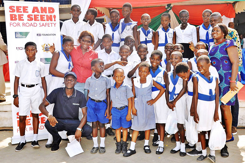 Amend organised an event at this Ghana school to unveil new sidewalks, crossings and speed management.