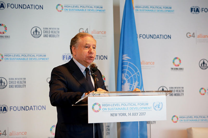 UN Special Envoy Jean Todt: 'Our vision is a future of green, fair, healthy and safe mobility for all'.