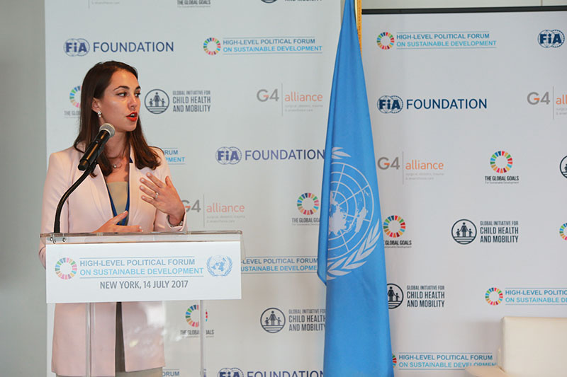 Natalie Draisin, FIA Foundation's North America Director, thanked countries for reporting on mobility in SDG Voluntary National Reviews.