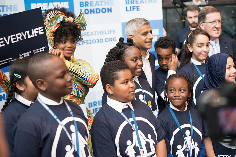Sadiq Khan with Child Health Initiative ambassador Zoleka Mandela and Lord Robertson.