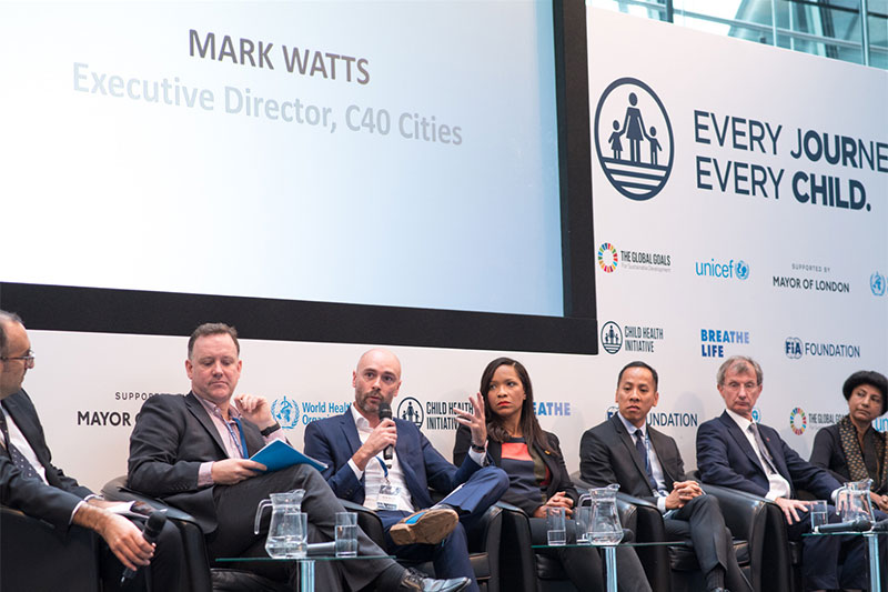 Coalition building: C40 Cities' Mark Watts spoke alongside panellists from Save the Children, UNICEF and WHO.