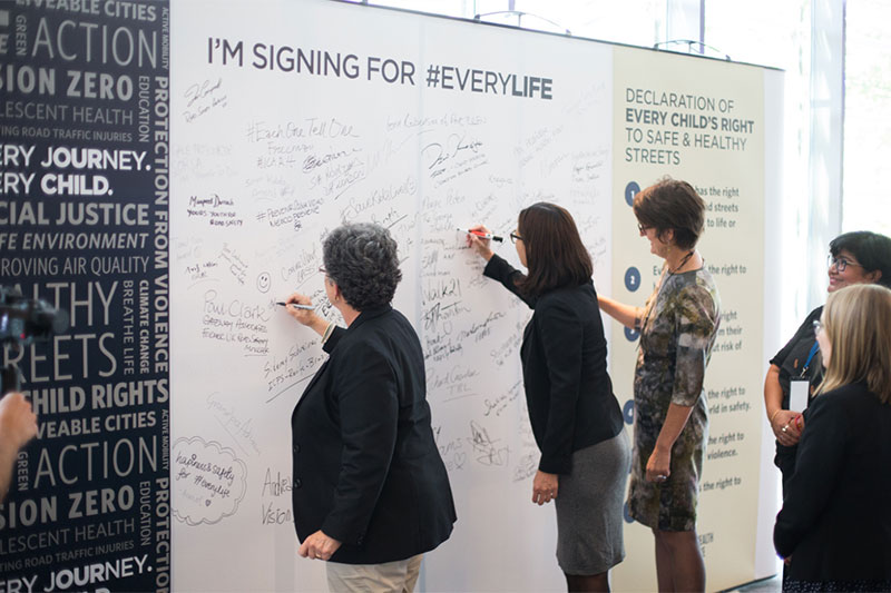 Participants signed up to the '#EveryLife' Declaration of Every Child's Right to Safe & Healthy Streets.