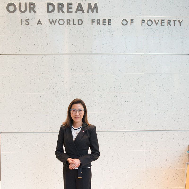 Michelle Yeoh spoke during the World Bank Annual Meetings in Washington D.C.