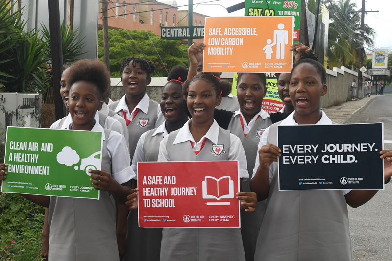 Pupils from Queens High School, Jamaica campaigning for #EveryLife.