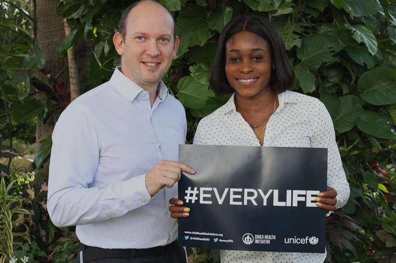 Olympic champion Elaine Thompson supporting #EveryLife with the FIA Foundation's Avi Silverman.