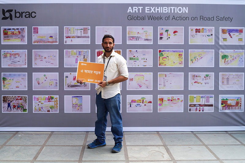 Art Exhibition featuring school children's visions for safe and healthy streets, organised by BRAC.