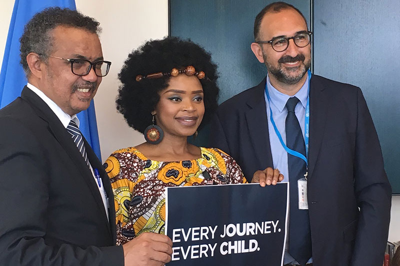 Zoleka Mandela and Saul Billingsley met with Dr Tedros to discuss the impact of road traffic on child health, and the right of every child to safe journeys to school.