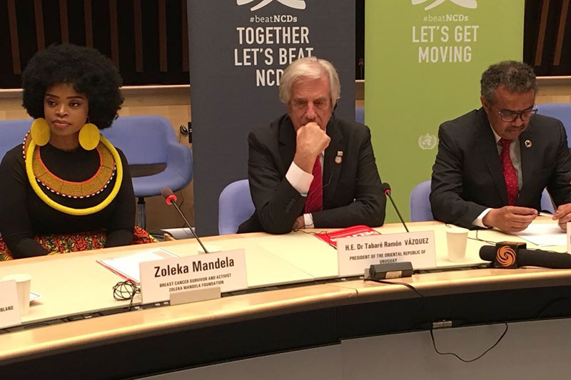 Zoleka Mandela with Uruguay's President Tabaré Ramón Vázquez Rosas and Dr Tedros at the NCD Commission report launch.