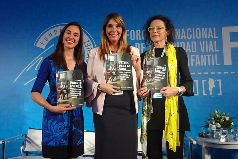 FIA Foundation North American Director Natalie Draisin, President of Fundación Gonzalo Rodriguez Nani Rodriguez and Regional Health Advisor for UNICEF Latin America Dr. Luisa Brumana launch the new report.