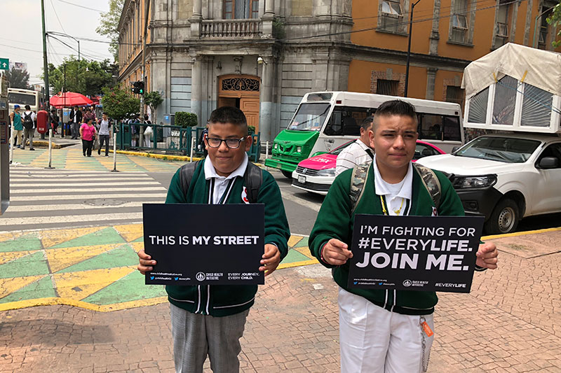 Children campaign to ensure their rights to safe and healthy streets are recognized.