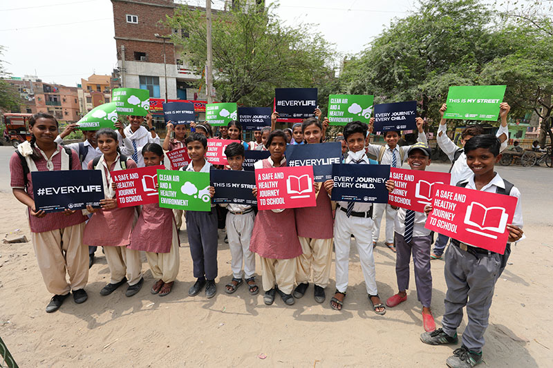 School children support the #EveryLife campaign, calling on governments to step up and deliver safe and healthy streets for all young people.