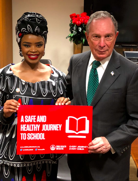 Michael Bloomberg with Zoleka Mandela prior to the High Level Meeting.