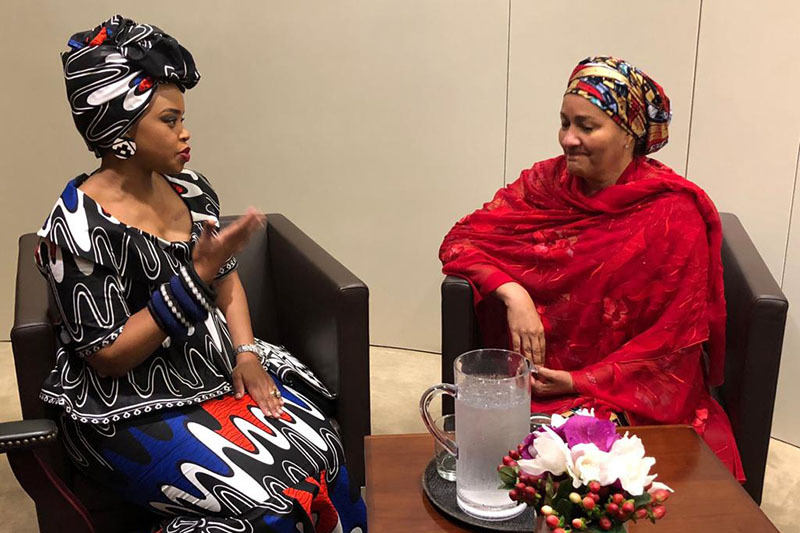 Zoleka Mandela meets the UN Deputy Secretary General Amina J Mohammed.