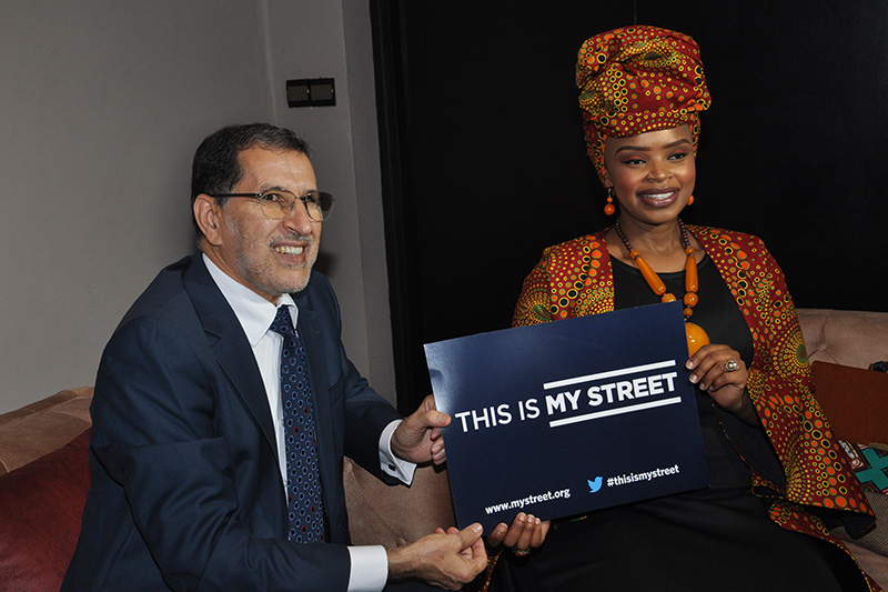 Head of the Moroccan Government Dr. Saad Elothmani joins Zoleka Mandela.