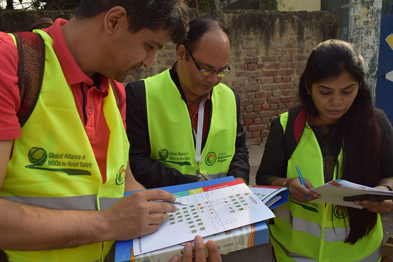 Road safety advocates use the iRAP Star Rating 4 Schools Tool to assess Nutan Marathi School.