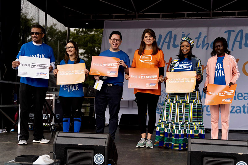Zoleka Mandela taking centre stage at 'Walk the Talk' alongside Dr Tedros, Princess Dina Mired of Jordan and Mary Keitany.