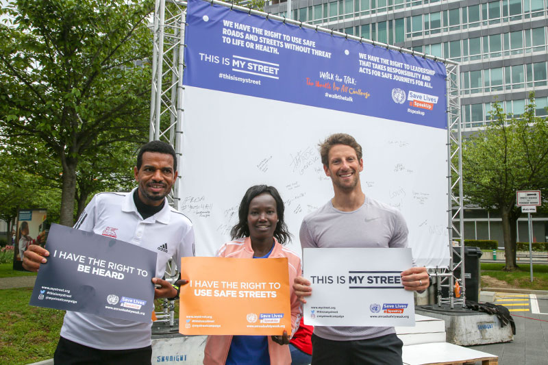 Swiss athlete Tadesse Abraham with Marathon runner Mary Keitany, and F1 driver Romain Grosjean support the Child Health Initiatives 'This Is My Street' campaign for safe, healthy streets.