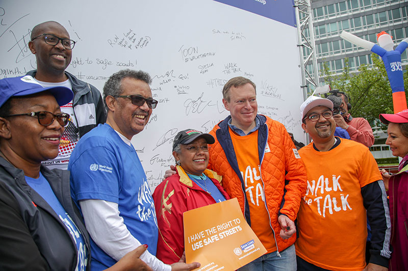 The First Lady of Kenya pictured alongside Dr Tedros of WHO supporting 'This Is My Street' at 'Walk.