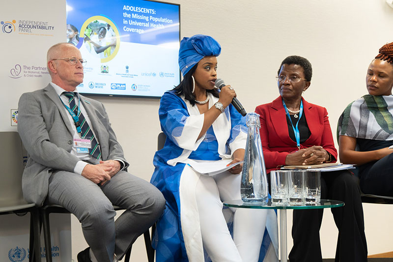 Zoleka Manela calling for a Global Summit on adolescent health pictured with Chief of Health at UNICEF Stefan Peterson. and Joy Phumpahi, Co-Chair of UN SG's Independent Accountability Council.
