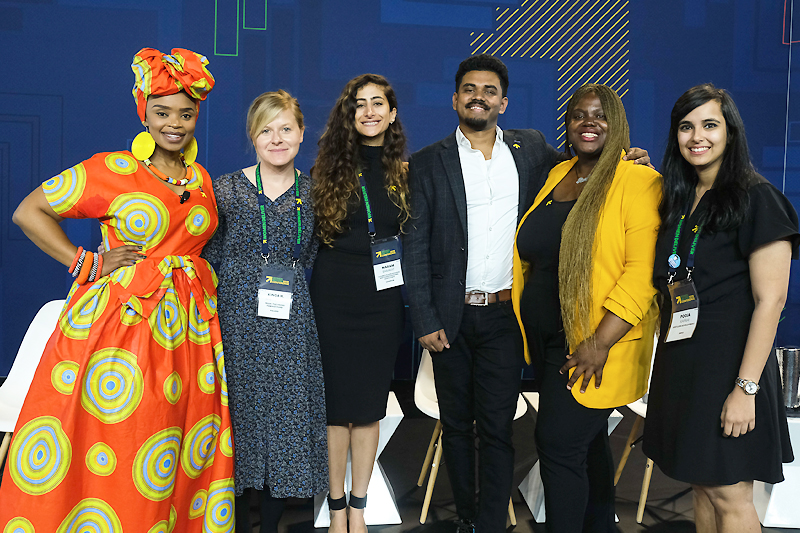 Women Deliver Young Leaders Olaoluwa Abagu, Pooja Kapahi, Maram Barakat, Riki Hasan and Kinga Wisniewska join Zoleka Mandela for a session in the youth zone.