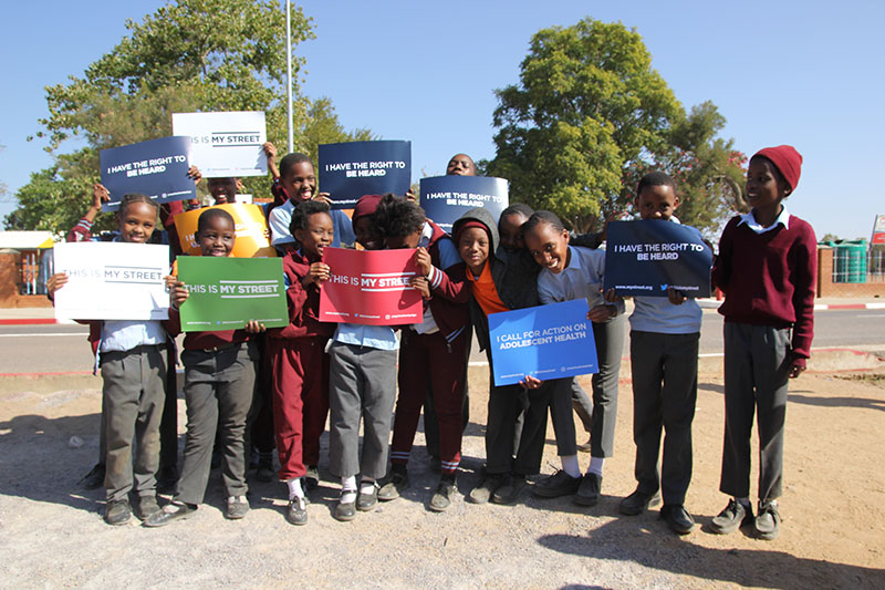 School children at Diphetogo Primary in Gaborone support the This is My Street campaign.