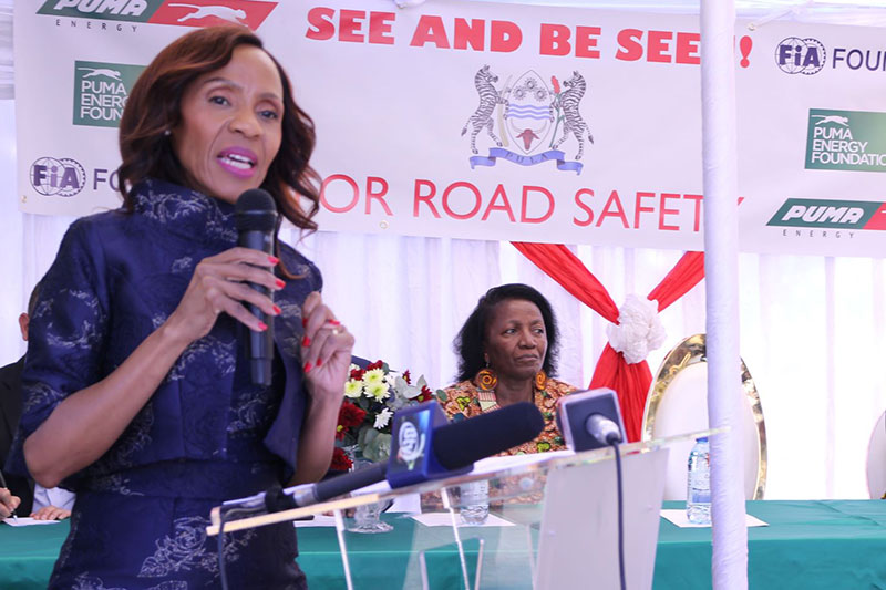 The First Lady of Botswana, H.E Neo Masisi, spoke at the launch at Diphetogo Primary.