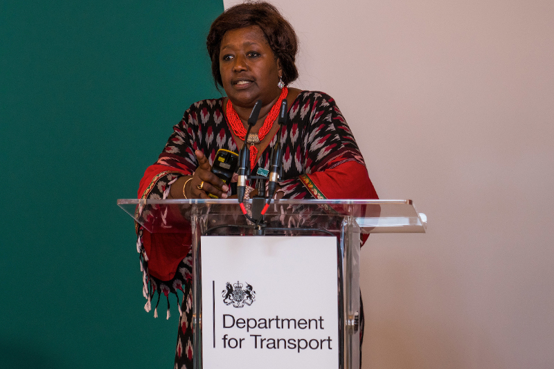 Dr. Agnes Binagwaho of Vice Chancellor of the University of Global Health Equity and Co-Chair of the Commonwealth Road Safety Initiative emphasises the impact of road traffic injury on youth. (All photos: Malcolm Griffiths).
