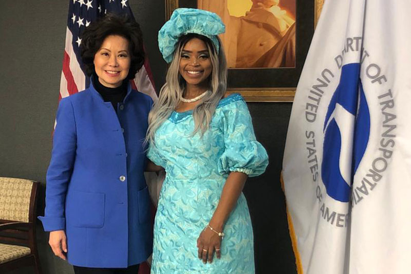 Zoleka Mandela with Secretary for Transportation Elaine Chao.