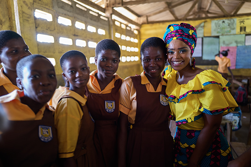 Zoleka with school children from Oblogo.