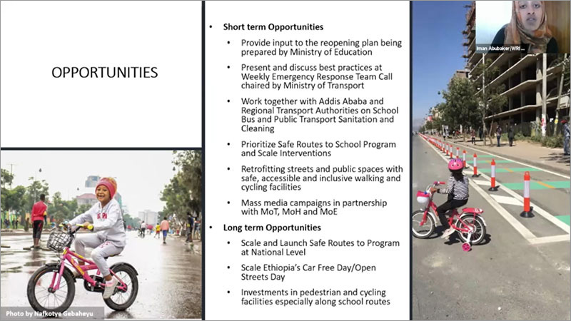 Iman Abukaker, Urban Mobility Project Coordinator, WRI Africa, highlighted their safe routes to school programme in Addis Ababa, which includes improvements in pedestrian infrastructure.
