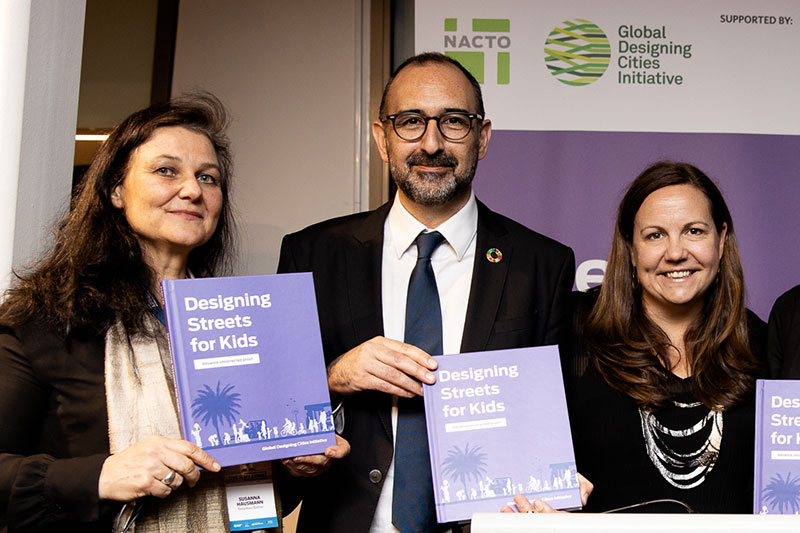 Both Botnar and FIA Foundation have supported the Streets for Kids programme.  Pictured here at the Global Road Safety Ministerial with CHI partner NACTO-GDCI.